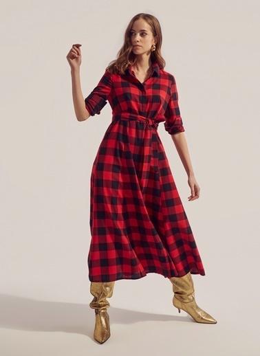 Monamoda Ekose Desen Gömlek Elbise Kırmızı